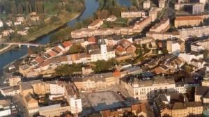 letecký pohled na Přerov